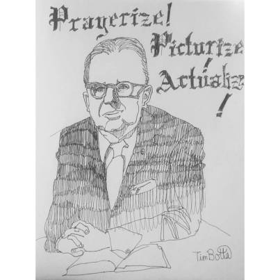 """Portrait of Norman Vincent Peale,"" ink on sketch paper..jpg"